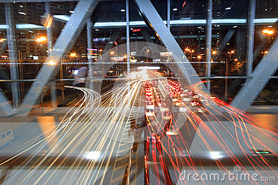 Traffic flow night sight in amoy city,china Editorial Photo
