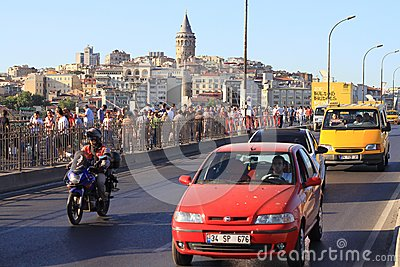 Traffic on Galata Bridge Editorial Image