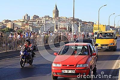 Traffic on Galata Bridge Editorial Image
