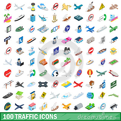 100 traffic icons set, isometric 3d style Vector Illustration