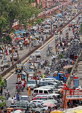 Traffic in indian street Editorial Image