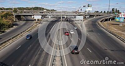 Traffic on interchange on sunny summer day stock video
