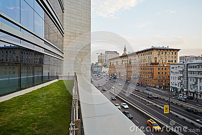 Traffic at intersection of Novinsky Boulevard and Smolenskaya Square Editorial Stock Photo
