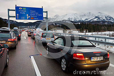 Traffic Jam on the A7 Autobahn in Germany Editorial Photography