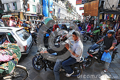 Traffic jam and air pollution in central Kathmandu Editorial Photography