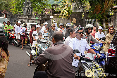 Traffic jam in Bali Editorial Photography