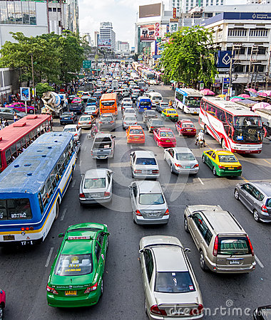Traffic jam in Bangkok Editorial Stock Photo