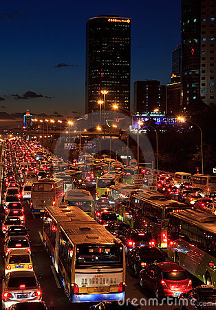 Traffic jam in Beijing Editorial Photo