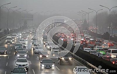 Traffic jam in Beijing, China Editorial Stock Image