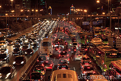 Traffic jam in Beijing at night Editorial Stock Photo