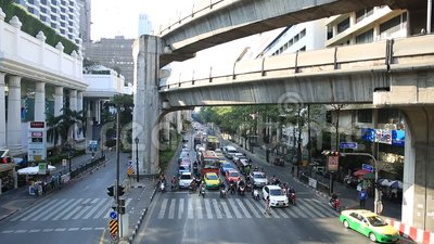Traffic jam on the Centralworld area, January 19,2015 in Bangkok,Thailand. stock footage