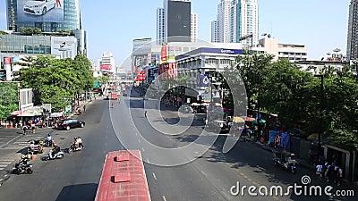 Traffic jam on the Centralworld area, January 19,2015 in Bangkok,Thailand. stock video