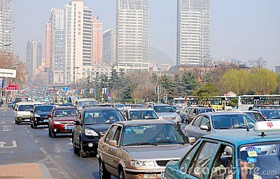Traffic jam, downtown of the Dalian. Editorial Stock Photo
