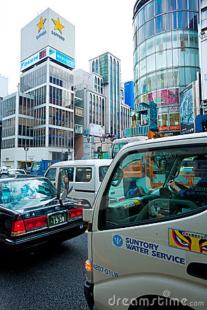 Traffic jam in ginza tokyo Editorial Photography
