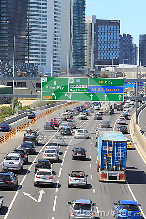 Traffic jam highway Melbourne Australia Editorial Photo