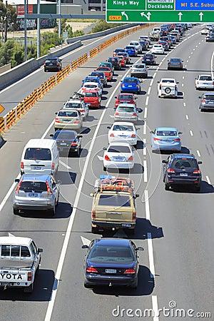 Traffic jam highway Melbourne Australia Editorial Image