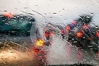 Traffic jam during rain