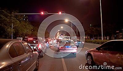 Traffic jam in Shenzhen at night Editorial Image