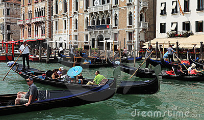 Traffic jam in Venice Editorial Image