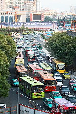 Traffic jam in Xi an, China Editorial Stock Image