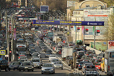 Traffic jams at rush hour. Editorial Stock Image