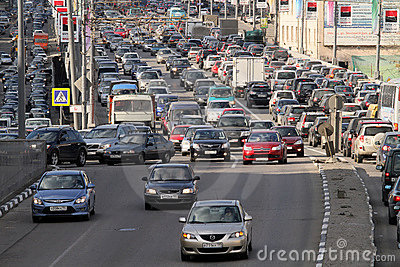 Traffic jams at rush hour. Editorial Stock Image