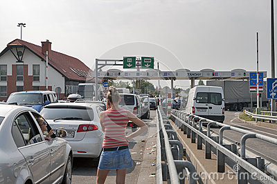 Traffic jams on the Ukrainian-Hungarian border Editorial Stock Photo