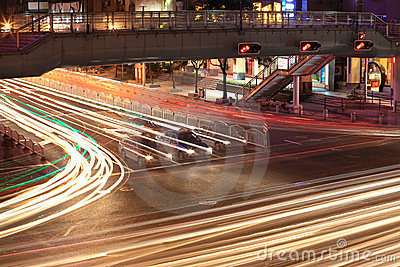 Traffic junctions at night