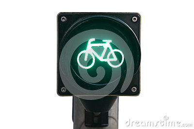 Traffic light for bicycles isolated
