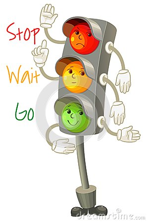 Traffic light. Follow the rules of the road. Rules for pedestria