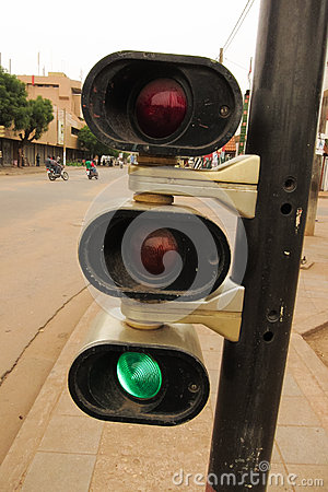 Traffic light at the intersection of Lomé, Togo