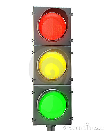 Traffic light with red, yellow and green lights