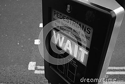 Traffic light sign reading WAIT