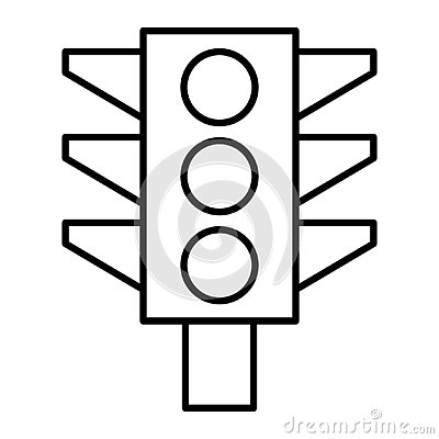 Free Traffic Light Thin Line Icon. Traffic Signal Illustration Isolated On White. Lights Outline Style Design, Designed For Royalty Free Stock Photo - 145286205
