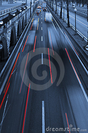 Traffic light trails  abstract