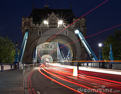 Traffic light trails in the Tower Bridge in London