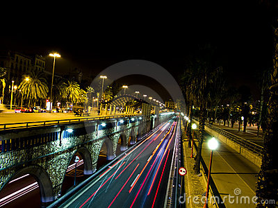 Traffic lights in Barcelona night