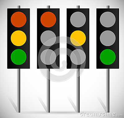 Free Traffic Lights, Lamps Or Traffic Signals Set. Red, Yellow, Green Royalty Free Stock Photos - 52073078