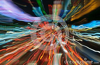 Traffic lights in motion blur