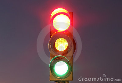 Traffic lights with red, yellow and green lights
