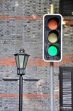 Traffic lights and road lamp
