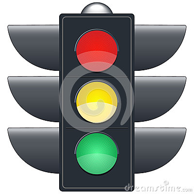 Traffic lights on white background