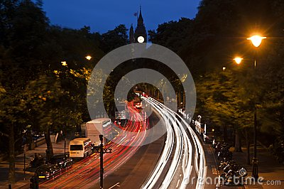 Traffic in London, light streaks at dusk.