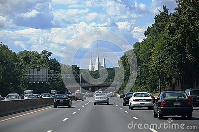 Traffic Metropolitan Area Beltway LDS Temple Editorial Stock Photo
