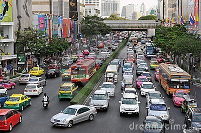 Traffic Moves Slowly on a Busy Road in Bangkok Editorial Image