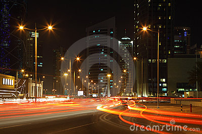 Traffic at night in Doha