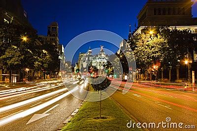 Traffic in night Madrid