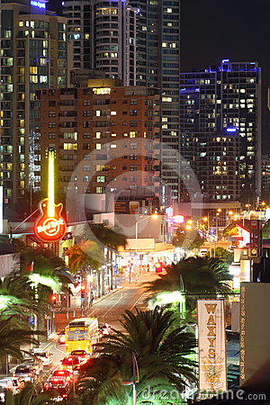 Traffic at night in Surfers Paradise Editorial Stock Image