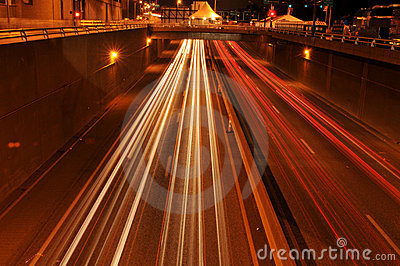 Traffic at night with traces of lights