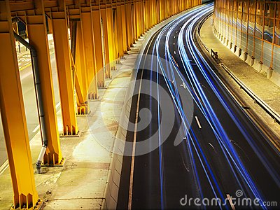 Traffic Night in Yellow Tunnel